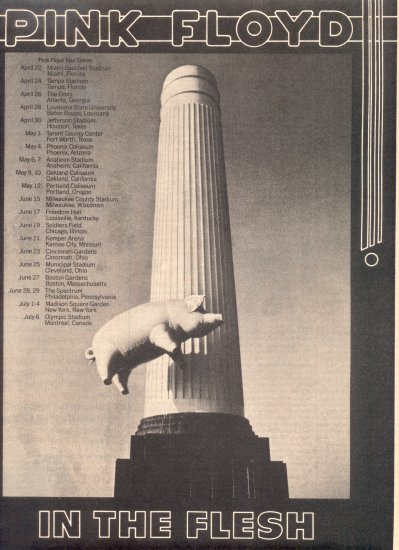 1977 PINK FLOYD FLYING PIG TOUR FLYER CONCERT PROMO AD