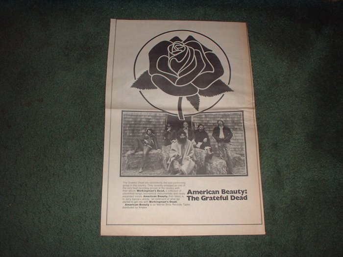 1970 THE GRATEFUL DEAD AMERICAN BEAUTY POSTER TYPE AD