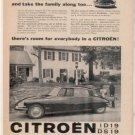 1958 CITROEN ID19 DS19 VINTAGE CAR AD