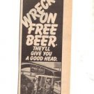 1976 FREE BEER HIGHWAY ROBBERY POSTER TYPE  AD
