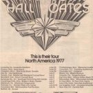 1977 DARYL HALL JOHN OATES TOUR OF 1977 POSTER TYPE AD