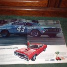 1969 FORD TORINO COBRA CAR AD RICHARD PETTY 2-PAGE