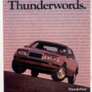 1985 FORD THUNDERBIRD VINTAGE CAR AD
