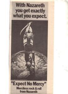 1977 NAZARETH EXPECT NO MERCY POSTER TYPE AD