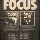 FOCUS MOVING WAVES FOCUS 3 POSTER TYPE AD 1973