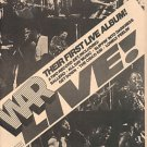 WAR LIVE POSTER TYPE PROMO AD 1974