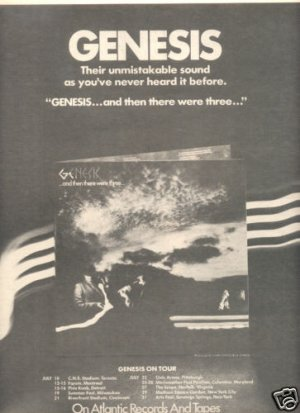 GENESIS AND THEN THERE WERE THREE POSTER TYPE PROMO AD