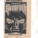 1977 NAZARETH HOT TRACKS TOUR PROMO AD