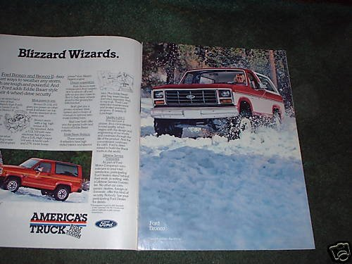 1984 1985 FORD BRONCO BRONCO II VINTAGE CAR TRUCK AD