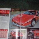 1984 PONTIAC FIERO GT ORIGINAL ROAD TEST 4-PAGE