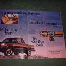 1985 1986 JEEP COMANCHE VINTAGE CAR AD 2-PAGE