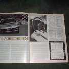 1977 1/2 PORSCHE 924 ORIGINAL ROAD TEST CAR AD 3-PAGE