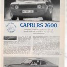 1971 1972 CAPRI RS 2600 VINTAGE ROAD TEST AD 3-PAGE