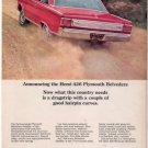1966 1967 PLYMOUTH BELVEDERE VINTAGE CAR AD 426 HEMI