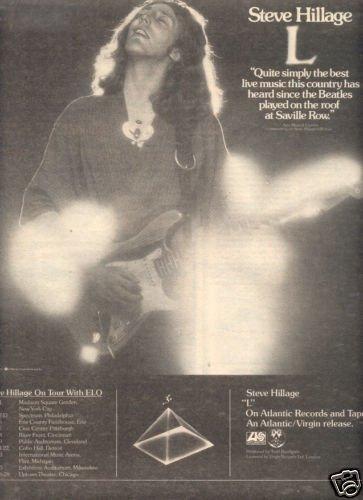 STEVE HILLAGE L POSTER TYPE TOUR AD 1977