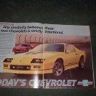 1985 1986 CHEVY CAMARO IROC Z28 CAR AD 2-PAGE