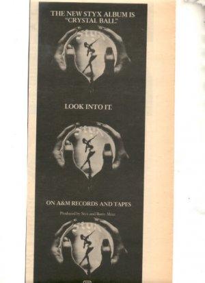 1976 STYX CRYSTAL BALL PROMO AD