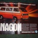 1980 VOLKSWAGEN VW VANAGON BUS CAR AD
