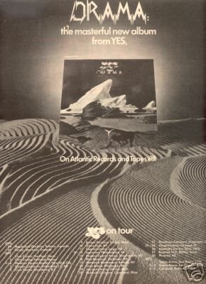 YES ON TOUR DRAMA RELEASE PROMO AD 1980