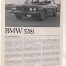 1980 1981 BMW 528i 528 i ROAD TEST AD 6-PAGE