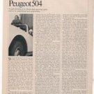 1970 1971 PEUGEOT 504 VINTAGE ROAD TEST 5-PAGE