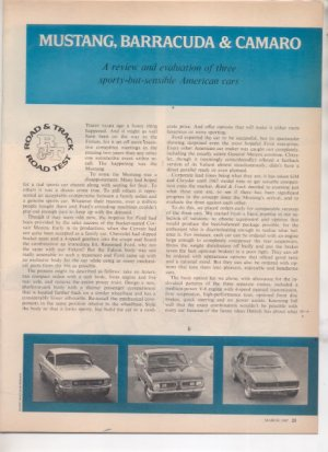1967 1968 MUSTANG BARRACUDA CAMARO ROAD TEST AD