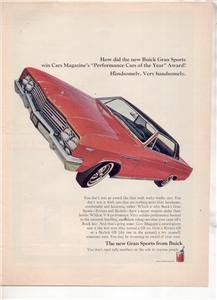 1965 BUICK SKYLARK GRAN SPORTS VINTAGE CAR AD RED