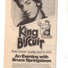 1978 BRUCE SPRINGSTEEN KING BISCUIT PROMO AD
