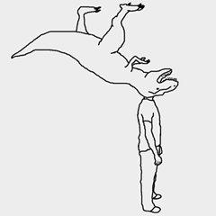Head Is A Dinosaur T-Shirt (Men's Gray)