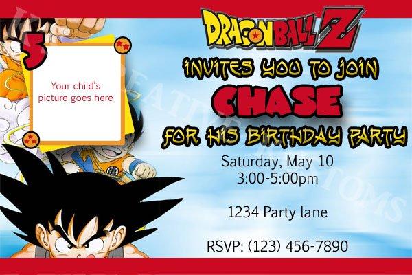 Dragon Ball Z Custom Birthday Party Invitation (HQ DIGITAL ...