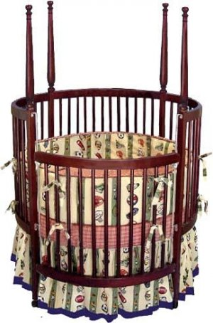Nursery Baby Round Crib Woodworking Project Plans, Design #RNCR1
