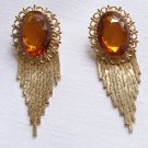 Vintage Retro Chain Dangly Mesh Amber Rhinestone Earrings
