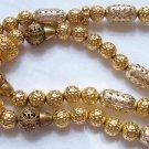Vintage FREIRICH signed Filigree Metal Beads Goldtone Necklace