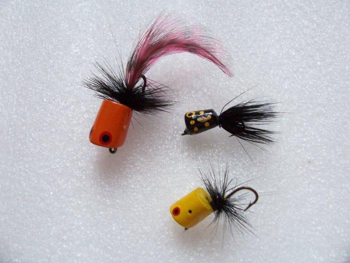 Vintage Wood Fly Rod Fishing Lures Popper Flies