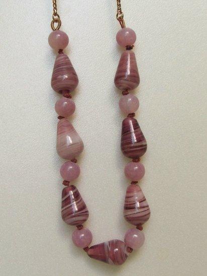 LIz Claiborne Amethyst Purple Art Glass Necklace