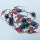 Vintage Midnight Blue and Mauve Sautoir Bead Necklace