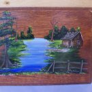 Vintage Painted Cypress Swamp Cabin Scene on Board
