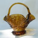 Vintage Amber Art Glass Basket Bent Crooked Unique