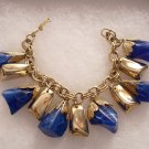 Vintage Chunky Blue Lucite & Gold Tone Chunk Cha Cha Dangle Bracelet