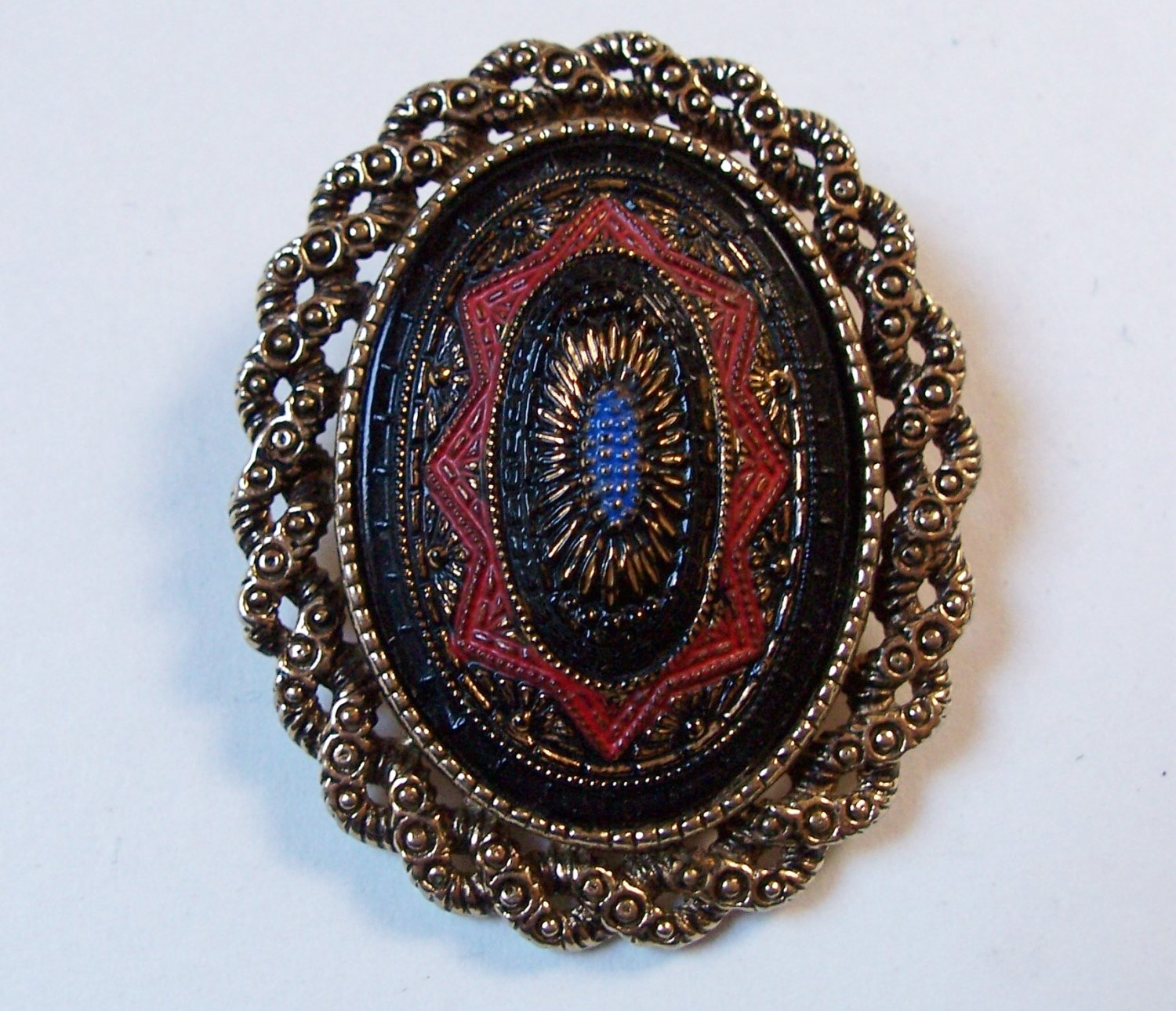Vintage 70s Sarah Coventry Old Vienna Oval Enamel Brooch