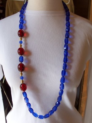 Vintage MONET Blue and Cherry Red Lucite Bead Necklace