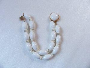 Vintage Summer White Bead 2 Strand MONET Bracelet