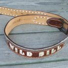 Vintage JUSTIN Mens Western Tooled Leather Cow Hide Hair Name Belt WILD BILL Sz 36