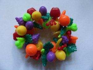Vintage Fruit Salad Plastic Tutti Frutti Bracelet Colorful