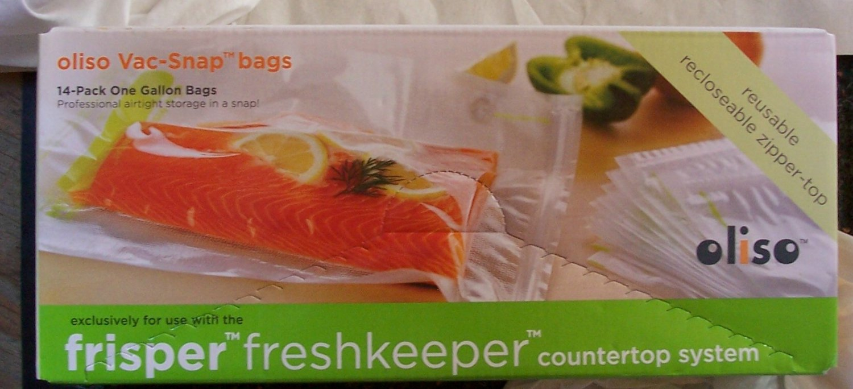 Oliso Frisper Vac Snap Resealable Bags Gallon Size 14 Count Box