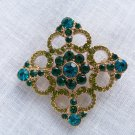Vintage Teal Blue & Green Glass Rhinestone Pin Brooch Liz Claiborne