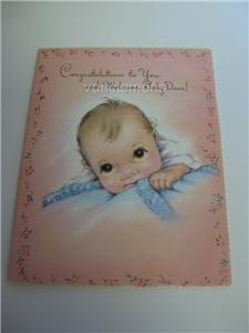 Lot of 4 Vintage New Baby Cards Unused Excellent Cond.