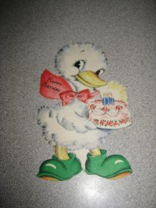 Adorable 1944 Hallmark Child's Birthday Card Duck EUC
