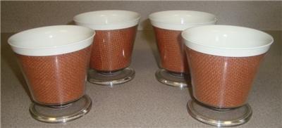 Set of 4 Melmac Raffia Burlap Dessert Cups Brown