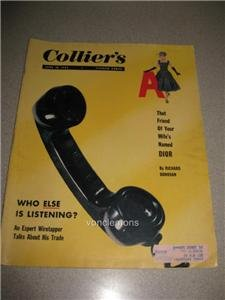 June 10 1955 Colliers Magazine Wiretapping Dior Ads